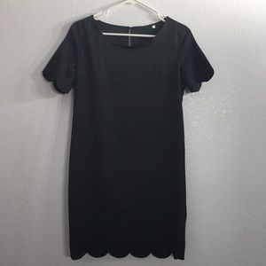 Scalloped hem mini dress in black small s